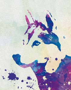 Siberian Husky Poster Dog Watercolor Dog Poster by TheWoodenKat
