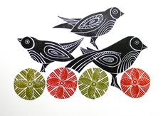 Mangle Prints: Back to printing- New Prints.jig saw Lino prints using individually carved elements that can be rearranged and printed in various colours