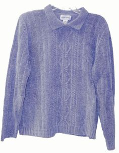 Womans Alfred Dunner M Knit Sweater Soft Chenille Blue Pullover Collar Sweaters For Women, Men Sweater, Alfred Dunner, Style Inspiration, Pullover, Knitting, Best Deals, Mens Tops, Jackets