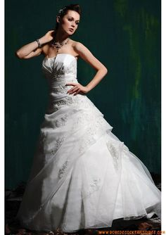 Robe princesse blanche 2013 avec traîne appliques robe de mariée organza