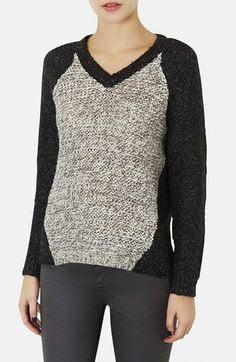 Kate Bosworth Topshop Marled Knit V-Neck Sweater available at #Nordstrom