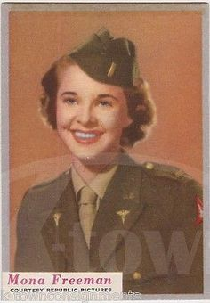MONA FREEMAN DOUBLE INDEMNITY MOVIE ACTRESS WWII WAC UNIFORM WHO-Z-AT STAR CARD