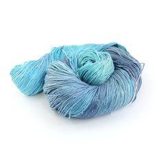 Blue 4ply silk seacell yarn, handdyed variegated skein luxury fingering knitting crochet yarn, Perran Yarns Ocean Blue, uk seller, turquoise
