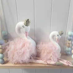 Girls Blush Swan Toy Nursery Decor