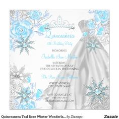 Shop Quinceanera Pink Rose Winter Wonderland Snowflake Invitation created by Zizzago. Sweet 15 Quinceanera, Quinceanera Decorations, Quinceanera Party, Quinceanera Dresses, Quinceanera Hairstyles, Snowflake Invitations, Quince Invitations, Quinceanera Invitations, Birthday Invitations