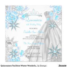 Quinceanera Teal Rose Winter Wonderland Snowflake Invitation