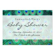 Blue and Green Peacock Feathers Baby Shower Announcement