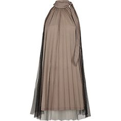 Nude and mesh pleated halter neck dress