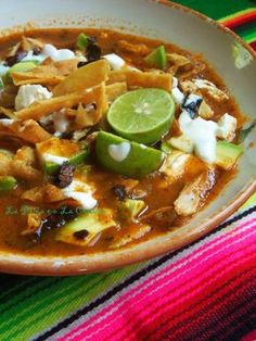 With Azteca tortilla's, you can create delicious fried tortilla strips for this Sopa Azteca-Sopa de Tortilla. Real Mexican Food, Mexican Cooking, Mexican Soup Recipes, Mexican Dishes, Comida Latina, Cooking Recipes, Healthy Recipes, Soup And Salad, Love Food