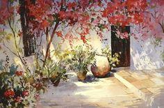 """Trevor Waugh """"Spanish Bougainvillea"""" watercolour"""