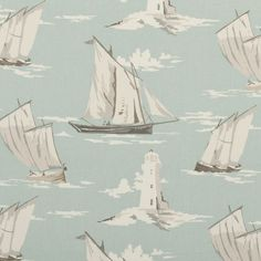 Clarke & Clarke Skipper Mineral Vintage Shabby Chic Designer Curtain Fabric Sold by The Metre Pvc Fabric, Fabric Decor, Fabric Design, Fabric Crafts, Curtain Material, Curtain Fabric, Pvc Material, Clarke And Clarke Fabric, British Seaside