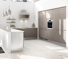 Niemekkeeseen asennettu matala korokeseinä piilottaa kokin keittiöaskareet. A la Carte -keittiöt, Cemento. | #keittiö #kitchen