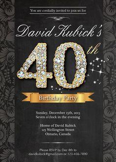Black gold glitter 50th birthday invitation modern number 40th birthday invitation adult birthday invitation by arthomer filmwisefo