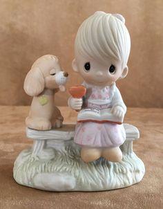 loving is sharing child and dog Precious Moments figurine boy 1979 ice cream  #PreciousMoments
