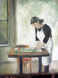 The Kitchen Worker Oil by Jacqueline Zuckerman
