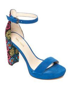 Nine West Blue Multi Dempsey Platform Sandals