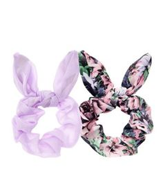 2 Pack Lilac and Pink Floral Print Bow Scrunchies