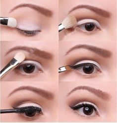 By Miss Louie. Great simple everyday natural eyeshadow tutorial. I love this for the office. It gives simple contouring with a clean wings eyeliner that's not too over the top. The minimal makeup on the bottom gives your eyes a lift @BLOOM.COM