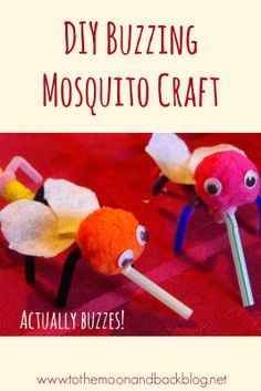 Adorable Mosquito craft from a straw, pipe cleaners, and pom poms - and it really buzzes!