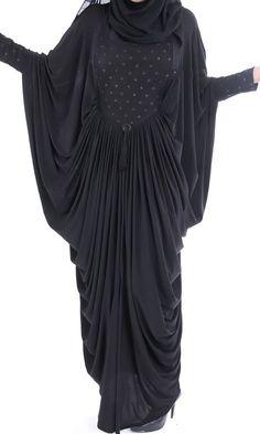 Luxury Black Butterfly Abaya Dress. Casual Full by ShopIslam