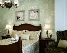 HTB1Z.Prepracovaná zelená tapeta s kvetinovým vzorom Bed, Furniture, Home Decor, Decoration Home, Stream Bed, Room Decor, Home Furnishings, Beds, Home Interior Design