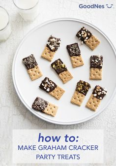 Party planning is easy with the help of Nestle Toll House Chocolate Morsels. For this kids' birthday party idea, make these Graham Dippers—simply dip graham crackers in melted chocolate and sprinkle with toppings. These tasty bite-size treats are perfect for sharing with a crowd of hungry kids!