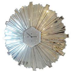 1940's sunburst mirrored clock