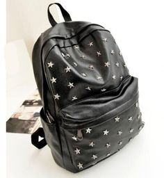 Cool Vintage-Style PU Lather Rivet Accent Large-Capacity Backpack 3 Colors