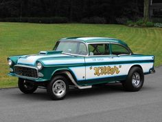 This 1955 Chevrolet Gasser Drag Race Car was recently for sale. This 1955 Chevy has a custom green and white psychedelic pearl paint job an. 1955 Chevy, 1955 Chevrolet, Classic Chevrolet, Chevrolet Parts, Chevy Ssr, Old Race Cars, Us Cars, Vintage Race Car, Drag Cars