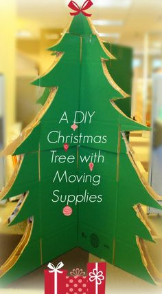 Don't have a #Christmastree up yet? Here's how to make your very own #DIY tree out of #moving supplies! #HappyHolidays