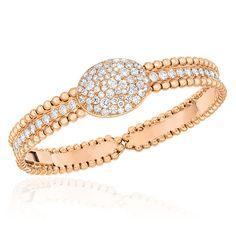 Cellini Jewelers Beaded 18 Karat Rose Gold and Diamond Oval Bangle