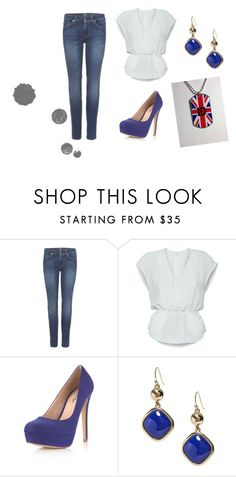 """""""Blue and white!:)"""" by karina-bm ❤ liked on Polyvore featuring 7 For All Mankind, Wilfred, Miss Selfridge and Banana Republic"""