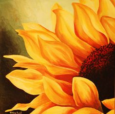 Cropped Sunflower Painting by Tiffany Budd