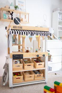 Diy Ikea Kallax, Ikea Hack, Ikea Kids, Kids Cafe, Maila, Diy Shops, Woodworking Toys, Kids Store, Play Houses