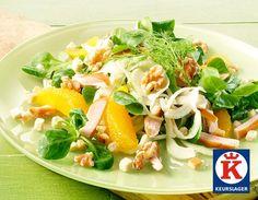 Salade met gerookte kip en venkel. Heerlijke salade om gezellig te lunchen in de buitenlucht.