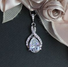 Swarovski Crystal Bridal Necklace, White Gold Twirl Bridal Jewelry, Wedding Jewelry, Silver Bridesmaid Jewelry, by BeFrostedBridal on Etsy https://www.etsy.com/listing/158572847/swarovski-crystal-bridal-necklace-white