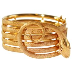 Rose Gold Snake Bracelet | From a unique collection of vintage bangles at http://www.1stdibs.com/jewelry/bracelets/bangles/