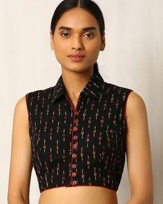 Buy Black Indie Picks Handwoven Ikat Sleeveless Cotton Blouse