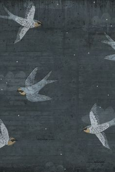Night has fallen, but the swallows are still up. This wall mural works just a Blue Velvet Sofa Living Room, Full Back Tattoos, Concrete Art, Faux Painting, Paint Effects, Wall Treatments, Tattoo Studio, Designer Wallpaper, Wall Murals
