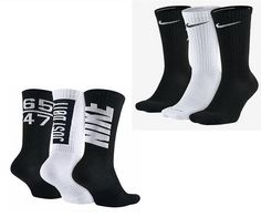 2d19ce58d Nike Mens 3 Pack DriFIT Cotton Cushioned Crew Size 8-12 L Black White  SX5128-901