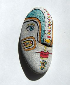 Painted Stone by sue thomson. You and your kids would probably enjoy and be inspired by the images on her website, when you start your rock painting sessions. Pebble Painting, Love Painting, Pebble Art, Stone Crafts, Rock Crafts, Land Art, Hand Painted Rocks, Painted Stones, Rock And Pebbles