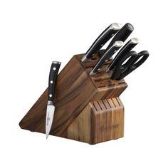 Crate and Barrel Wusthof Classic Ikon 7-piece Acacia Knife Block Set