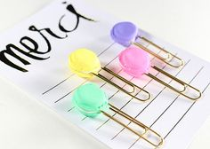 French Macaron Paper Clips 4pk Gold by emileespeaks on Etsy