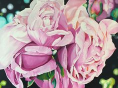 60x90cm acrylics on canvas, pink rose study by chubbypeacock find me on FB or #chubbypeacock on Instagram