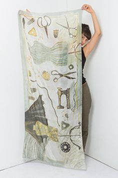 Dressmakers Atelier silk scarf. White, neutral scarf shawl painted by hand. Long fashion handpainted scarf. Luxurious gift for mom