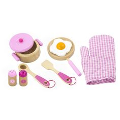 Wooden Cooking Tool Set Pink  #WoodenToys