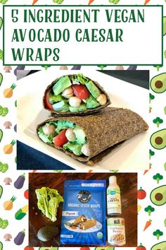 My Recipes, Gluten Free Recipes, Vegan Caesar Dressing, Wraps, Shredded Carrot, Recipe Ratings, Cherry Tomatoes, Vegan Vegetarian, Avocado