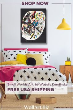 FRAMED & FREE USA SHIPPING Kandinsky's- Kleine Welten III (Small Worlds III) Geometric art forms contrasted by a deep black background make this statement canvas print stand out from the crowd. #wassilykandinski #fineartreproduction #abstractart Bedroom Canvas, Bedroom Artwork, Wassily Kandinsky, Small World, Geometric Art, Art Forms, Black Backgrounds, Framed Art, Crowd