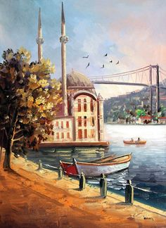 The Ortakoy Mosquee, oil painted on canvas, Istanbul. Oil Painting Pictures, Turkish Art, Istanbul Turkey, Islamic Art, Love Art, Painting & Drawing, Watercolor Paintings, Art Drawings, Scenery