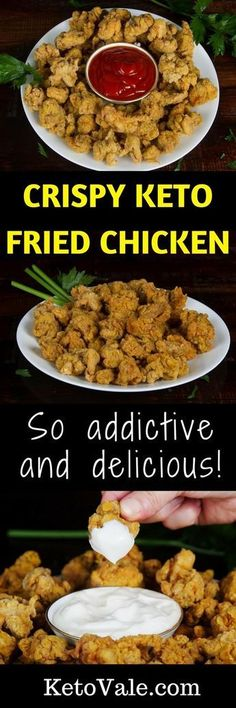 Keto Fried Chicken This low carb Crispy Keto Fried Chicken is very similar to the KFC you love to it.This low carb Crispy Keto Fried Chicken is very similar to the KFC you love to it. Ketogenic Recipes, Low Carb Recipes, Diet Recipes, Healthy Recipes, Ketogenic Diet, Recipies, Keto Foods, Healthy Food, Pescatarian Recipes